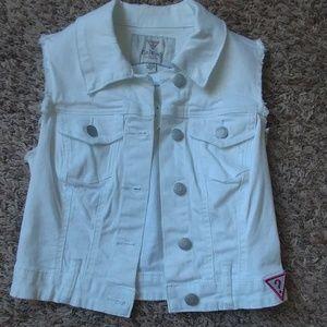 White Distressed Jean Vest - XS, NWT!